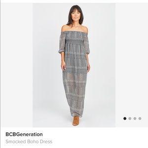 Bcbg bohemien long off the shoulder dress